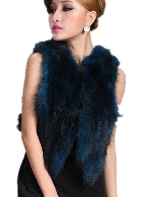 V245-fashion women's genuine raccoon fur  outwear New design blue purple green red short female fur vest