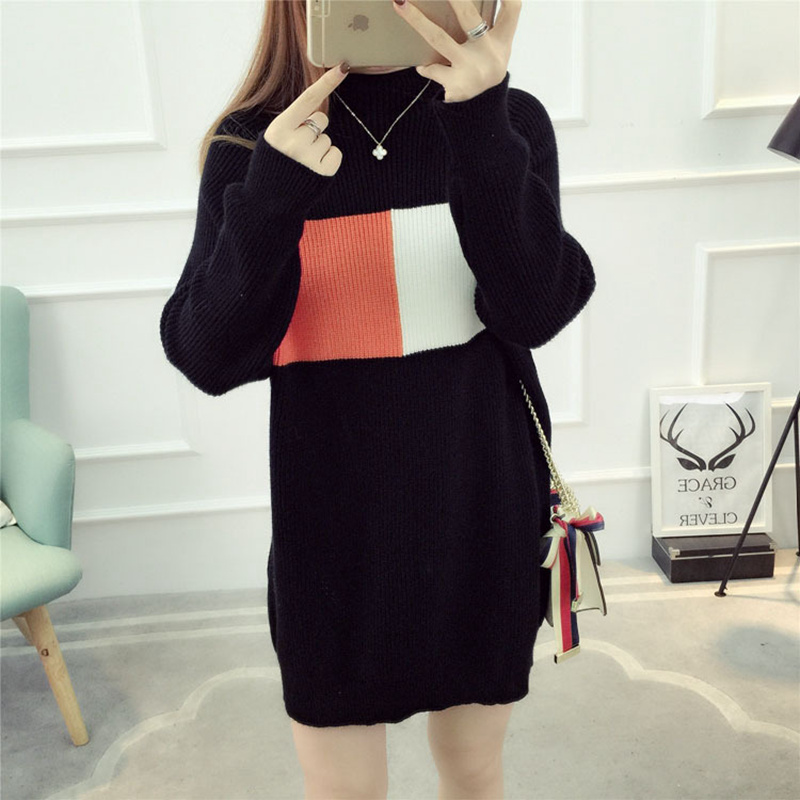 Women Fashion Winter Turtleneck Black Knitted Long Sweater Pullovers Plus Size Loose Outwear Christmas Sweater Pull Femme Hiver