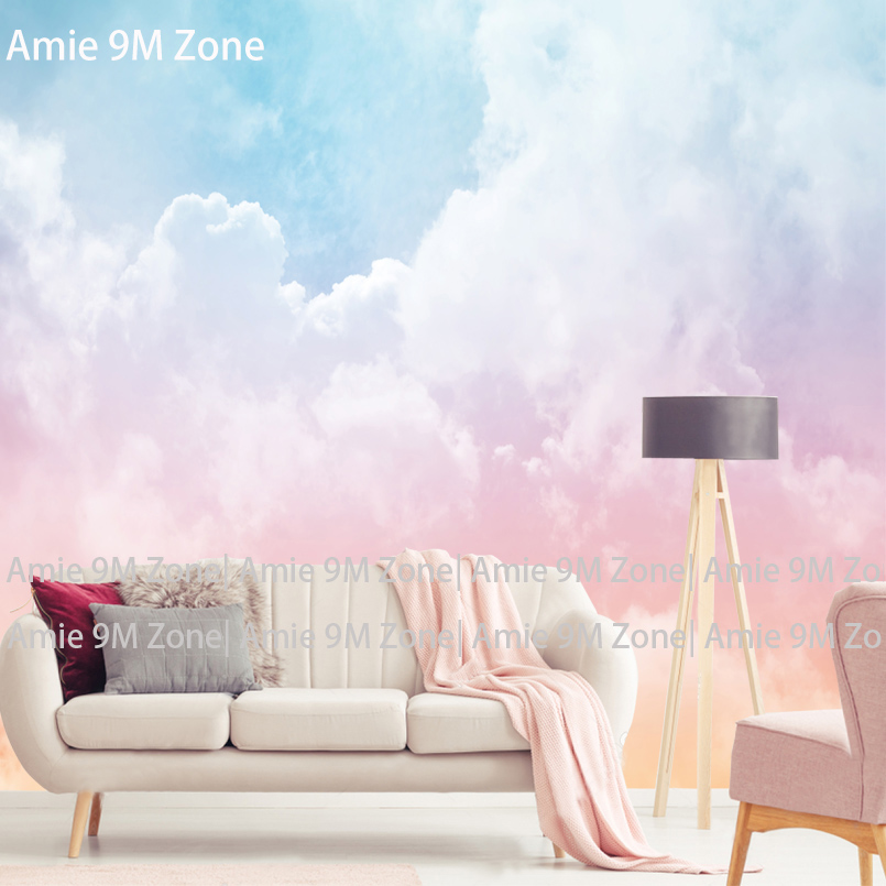 Tuya Art Pink White Blue Cloud Wallpaper for Kids Room Bedroom Mural Wall papers 3D Desktop Background Wallpapers home decor