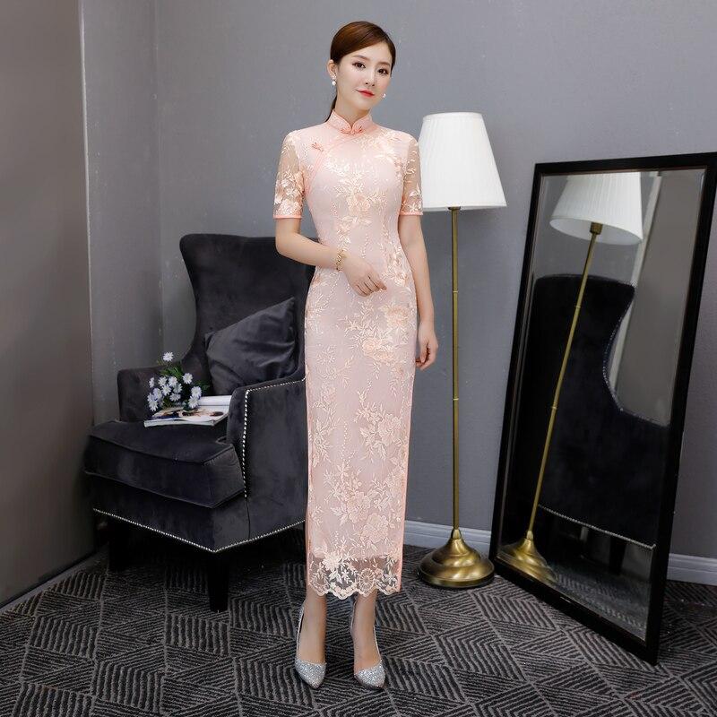 Sexy 2018 Autumn Long Cheongsam Traditional Chinese style Mesh Dress Womens Mandarin Collar Qipao Slim Party
