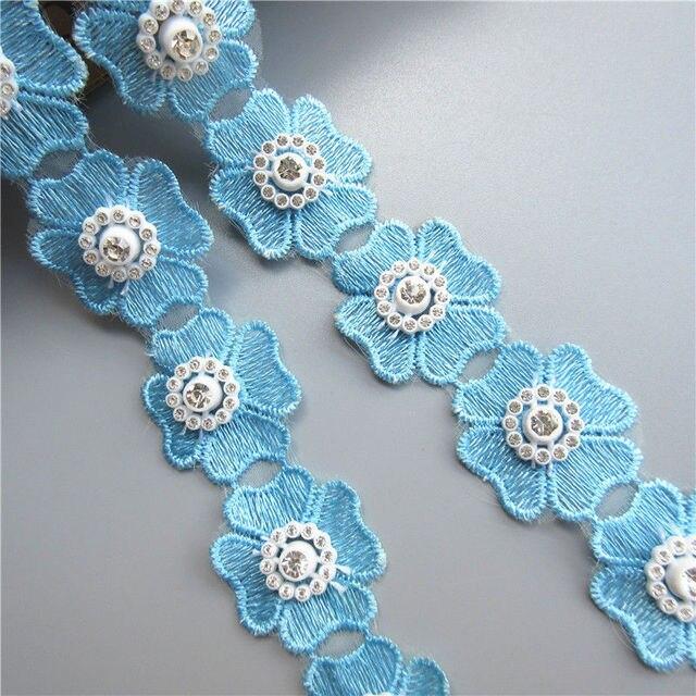 10 Yard Blue Heart Flower Diamond Lace Edge Trim 118 Wide3cm Bridal