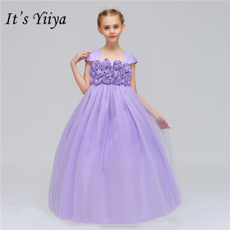 It's yiiya New Purple Appliques Little   Flower     Girl     Dresses   Elegant Floor-length   Girl     Dress   MA074