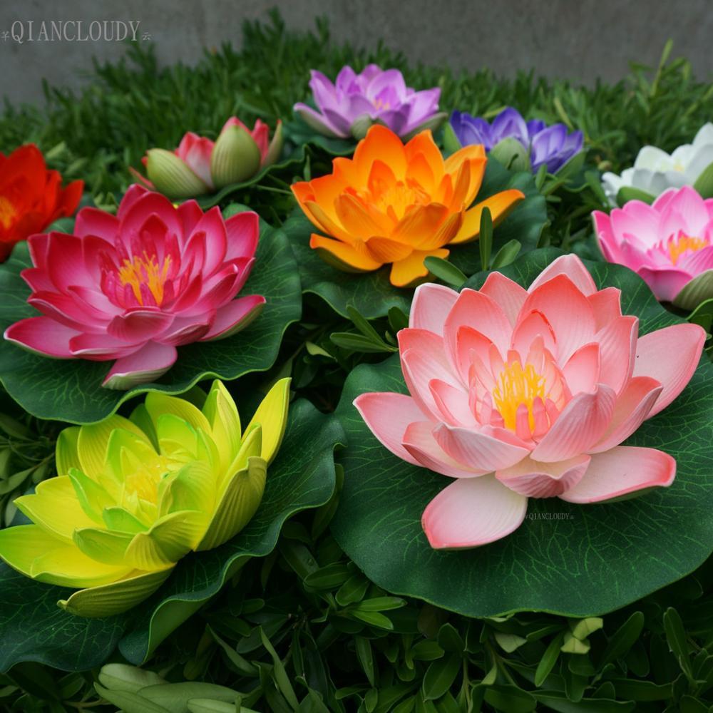 Jiamins Artificiales Falso Nadando Flores Lotus nen/úfar Plantas Jard/ín Reservorio Estanque Decoraci/ón