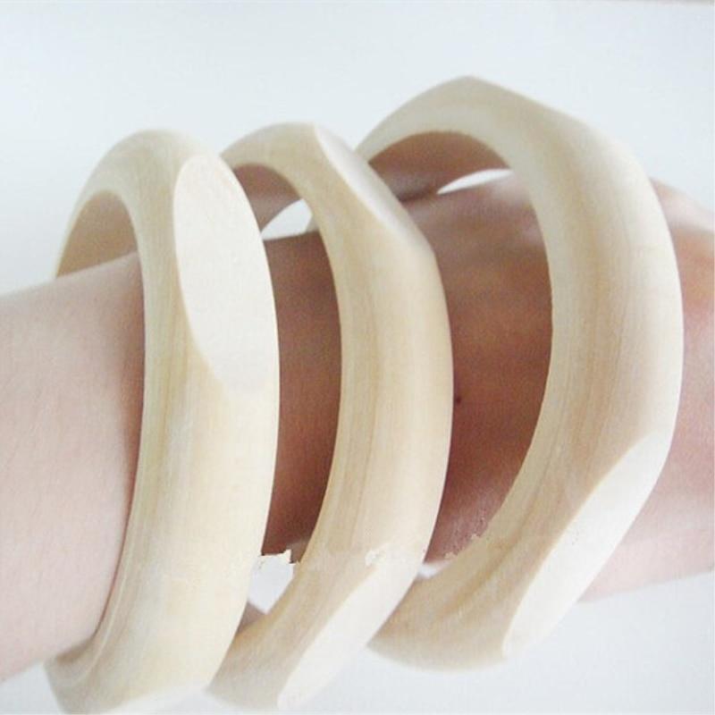 SANSHOOR DIY Unfinished Natural Wooden Cut Bangles Bracelet For DIY Handmade Accessories Jewelry 15pcs/lot SMT-233J