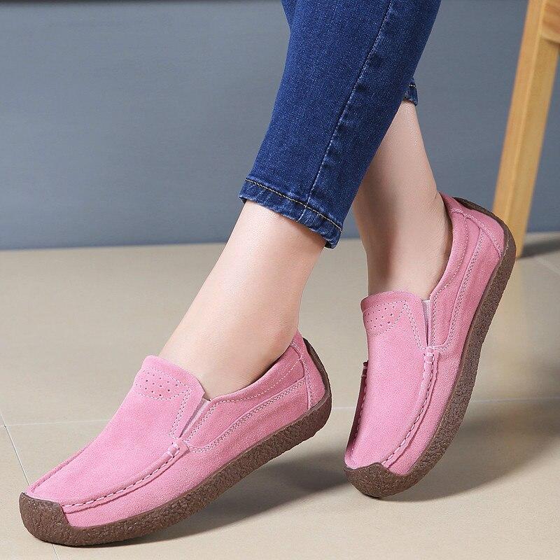 Autumn Flats Women Shoes   Leather     Suede   Slip on Shoes Woman Ballet Flats Ladies Shoes Oxfords for Women Moccasins 2018 X-190