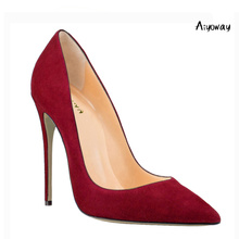 Aiyoway Classic Women Shoes Pointed Toe High Heels Pumps Autumn Spring Office Lady Party Shoes Slip On Faux Suede Big Size big size 11 12 candy color pink slip on women pumps wedges heels pointed toe pu soft leather autumn spring girl office shoes