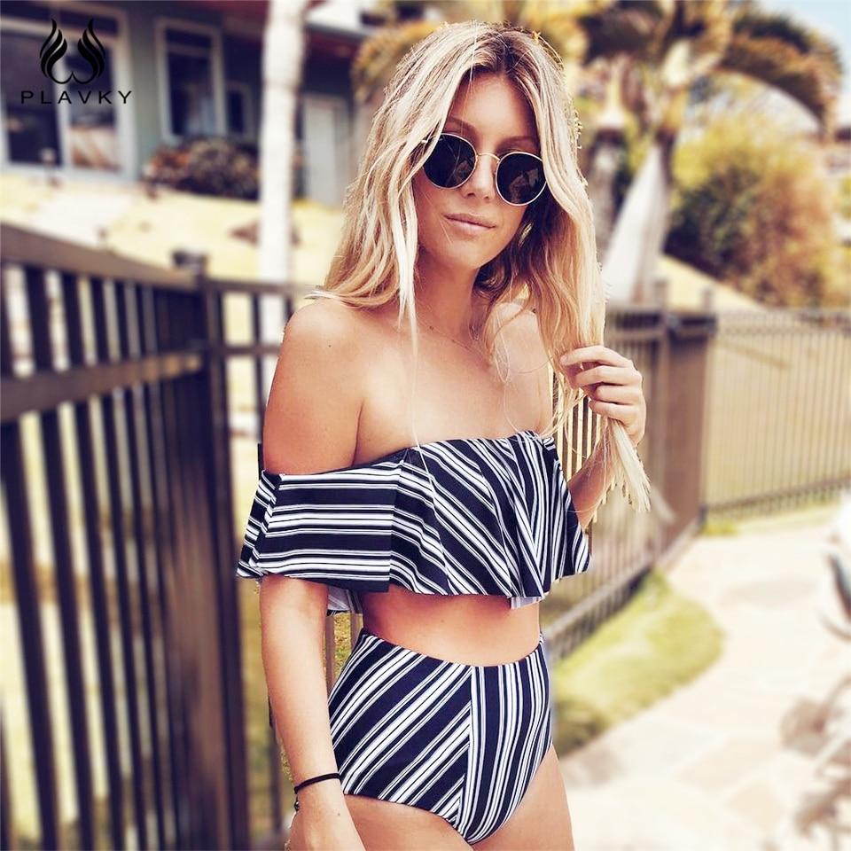 PLAVKY 2018 Sexy White Black Striped High Waist Biquini Ruffled Swim Bathing Suit Swimsuit Swimwear Women Off Shoulder Bikini blue sexy off shoulder stripe pattern playsuit with stretch waist