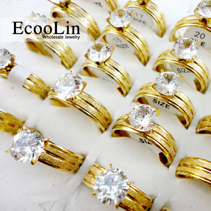 10pcs Women Fashion Gold Classic Engagement Anniversary Wedding Ring Cubic Zirconia Stainless Steel Rings Female Jewelry LR388