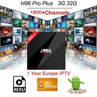 Europe IPTV French Turkey Poland UK CA 1800 Channels H96 PRO Plus 3G 32G Amlogic S912