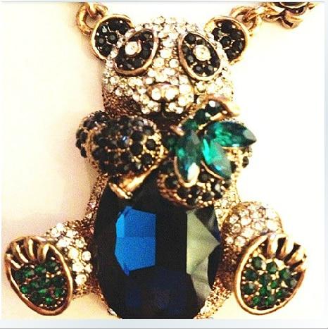 Fashion accessories luxury big crystal panda bamboo full rhinestone flower vintage necklace female x509