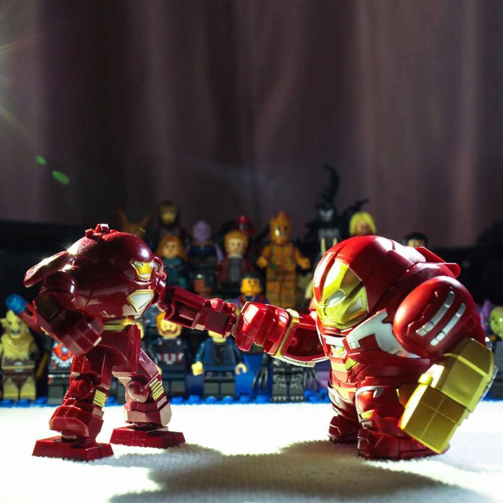 Железный человек Марвел Мстители 4 эндигра Тони Старк с боевой костюм шлем перца анти-Халк мех фигурка строительные блоки игрушки детей