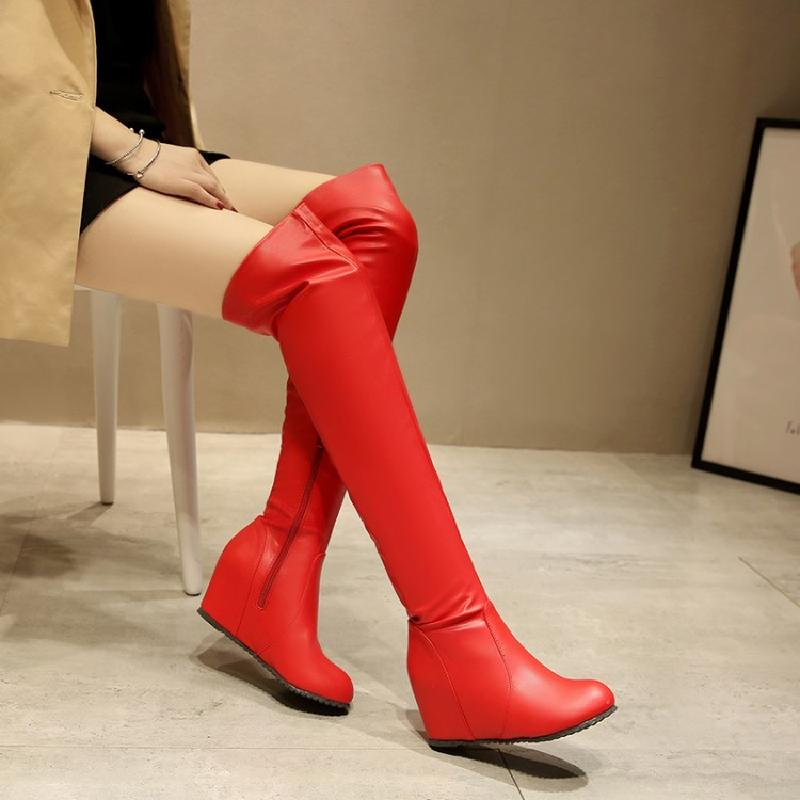 winter boots women over the knee boots female high heel boots red ladies boot 2017 australian autumn shoes free shipping &1928 ppnu woman winter nubuck genuine leather over the knee snow boots women fashion womens suede thigh high boots ladies shoes flats