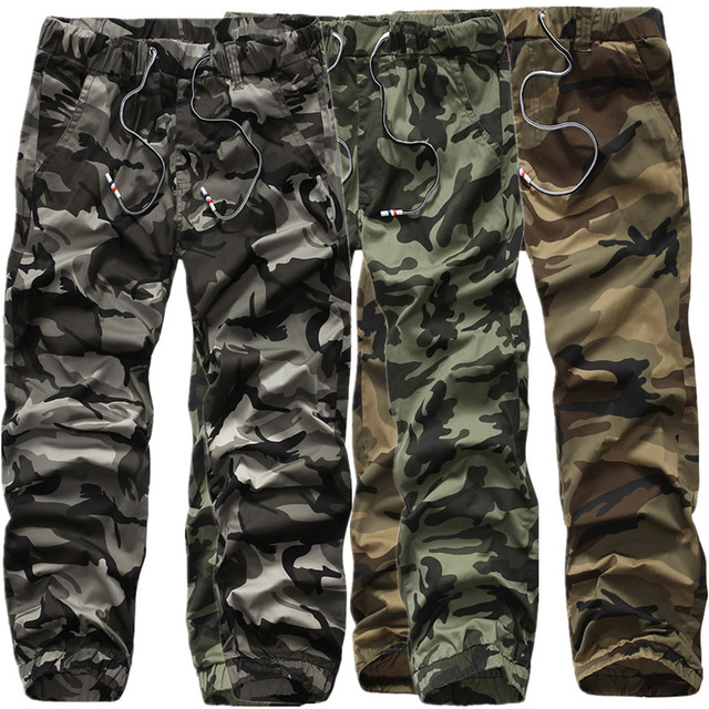 2017 hombres de camuflaje pantalones casuales nuevo ejército loose camuflaje bolsillo del pantalón pantalón de hip hop pantalones de chándal corredores militares punk