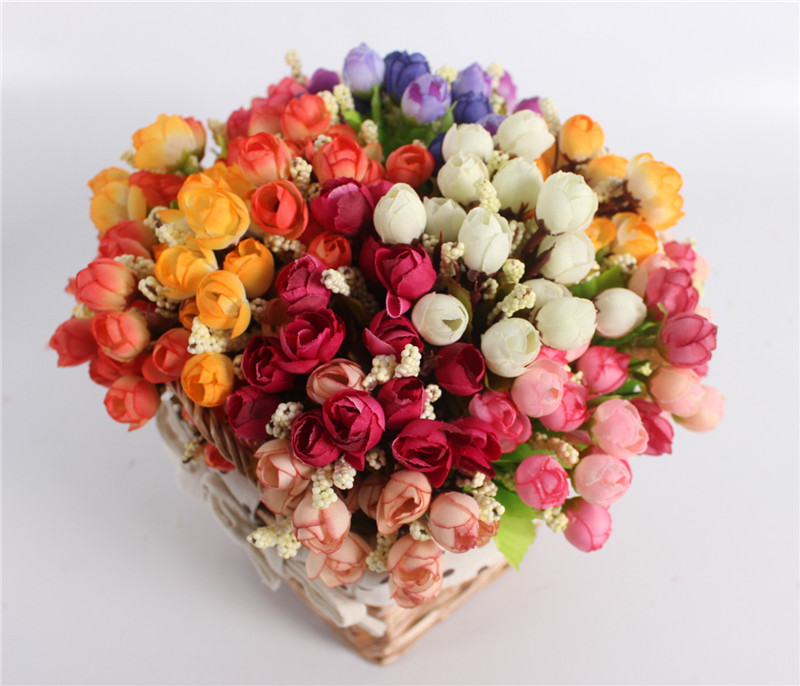 Autumn 15 Heads Silk Roses Bract Artificial Flower For Wedding And Christmas Decor 12
