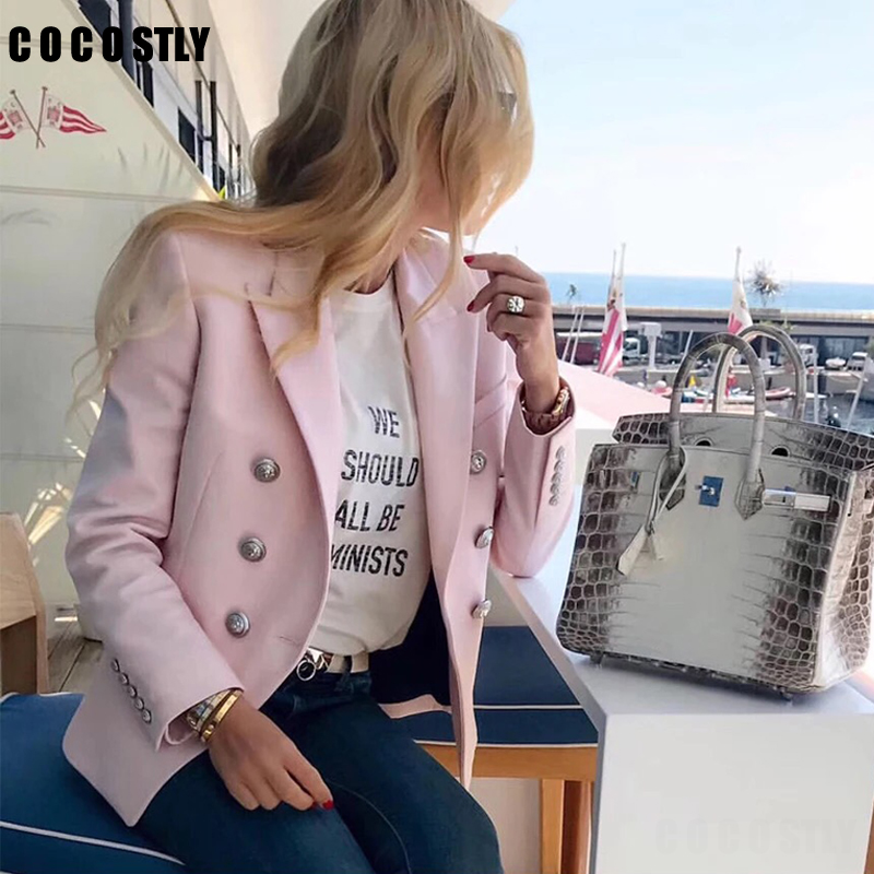 Women Blazers And Jackets 2019 Double Breasted Long Dames Blazer Ladies Pink Blazer Long Sleeves Casual Outwear Plus Size
