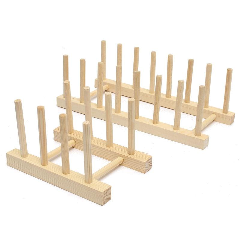 Kitchen Wooden Rack Wood Plate Stand Display Holder Lids 7 Grid ...