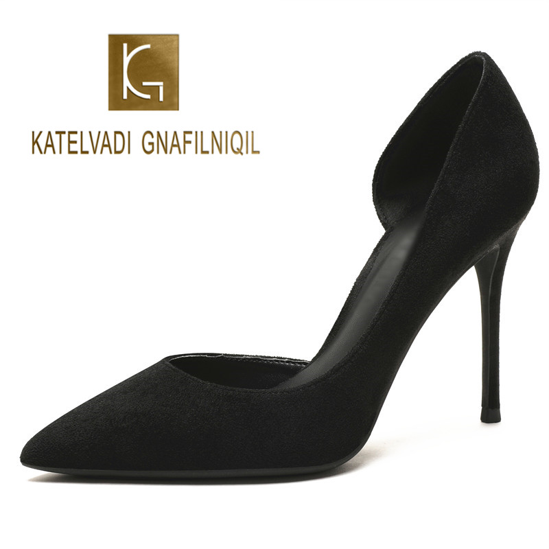 KATELVADI Women 4Inches High Heels Pumps Women Shoes Pointed Toe Side Opening Summer Flock Sexy Party