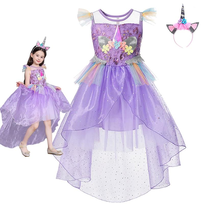 Unicorn Girls Dress Kids Unicorn Birthday Costume Rainbow Princess Theme Party Fancy Dress Cute Wedding Flower Girl Frocks 1