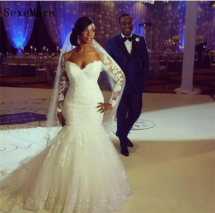 African Plus Size Wedding Dresses Sweetheart Long Sleeves Lace Appliques Custom Made Mermaid Wedding Gowns Bridal Dress