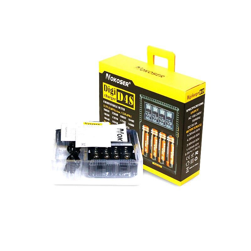 100% Originale NOKOSER D4 Digicharger LCD Intelligente Circuito di Assicurazione Globale Li-Ion 18650 14500 16340 26650 Caricabatteria