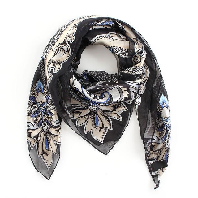 860b92129fd BQacces 100 100 cm paisley damassé brûlé soie rayonne carré écharpe femmes  noir blanc bandeau