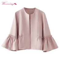 Spring Autumn Women Sweet Ruffles Jacket Open Stitch Design Flare Sleeve Coats Solid Ladies Casual Puff