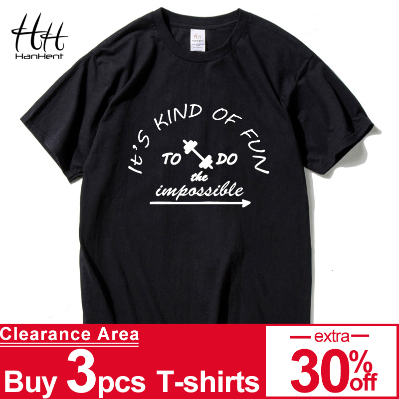HanHent Summer Men 100% Cotton Clothing Short T-shirts Camisetas t-shirt Fitness Break Impossible Top T-shirts Skateboard t-shirts
