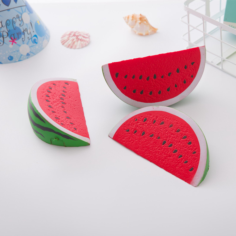 Kawaii 14cm Jumbo Squishy Watermelon Super Slow Rising Squeeze Soft Stretch Scented Bread Cake Fruit Fun Kids Toys Gift fun autism toys hamster squishy decor slow rising kid toy squeeze relieve anxiet gift toys for children pu simulation hamster
