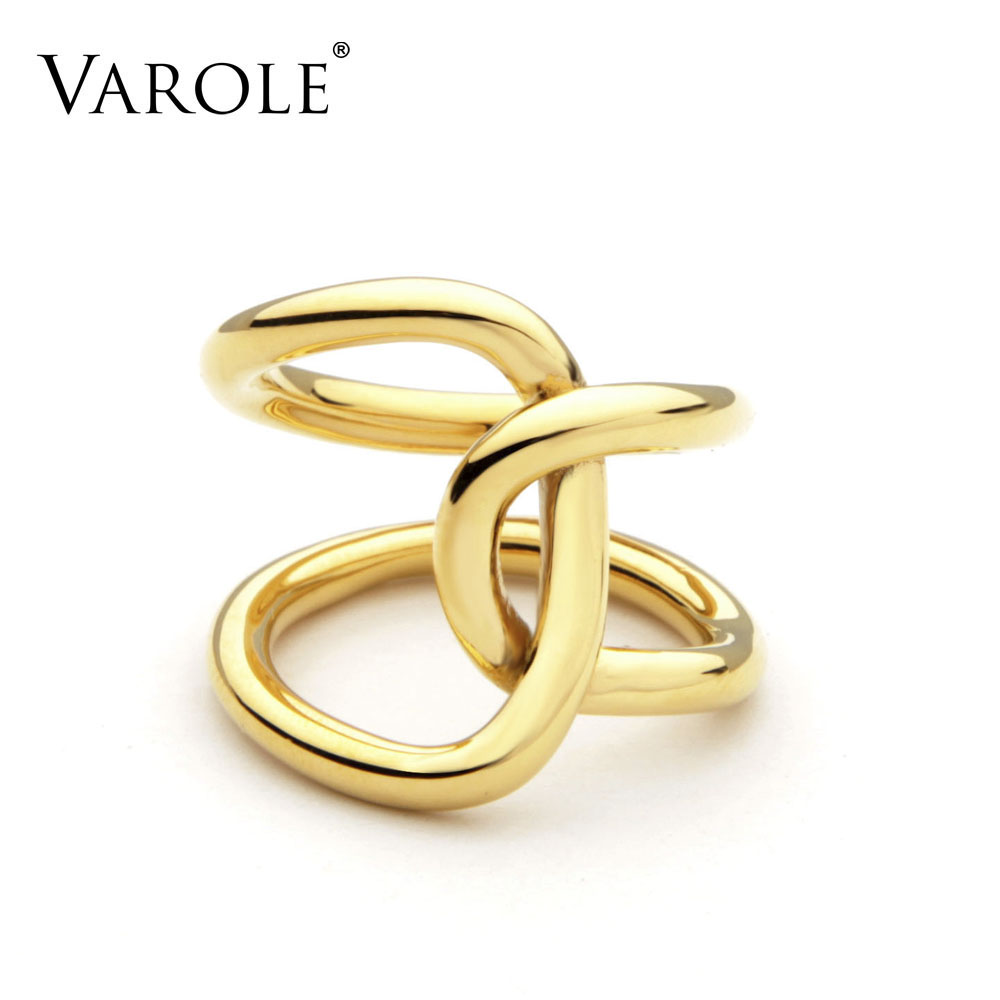 VAROLE Double Line Cross winding Rings For Women infinity Rings Personalized Gifts Unique Design Fashion Jewelry Anel Feminino title=