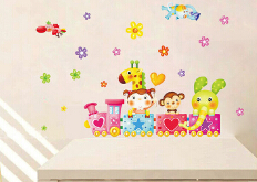 New Arrive DIY Removable Wall Stickers Cartoon Cute Animals Train Balloon Kids Bedroom Home Decor Mural Decal Small Size