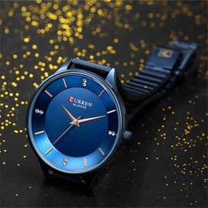 Image 4 - CURREN reloj con diamantes de imitación para mujer, pulsera de acero inoxidable, de cuarzo, femenino, 2018