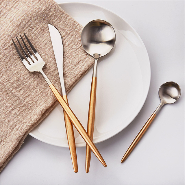 Best Hot Sale 4 Pcs/set gold silver color Dinnerware Set 304 Stainless Steel Western & Best Hot Sale 4 Pcs/set gold silver color Dinnerware Set 304 ...