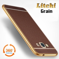 Litchi Lines Painting Case For Samsung Galaxy J3 Pro 2016 Slim Plating Soft TPU Business Style