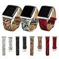 Рождество Блестящий Блеск Мощность ПУ Кожа Bling Роскошные Iwatch Группы Наручные Часы Браслет Ремешок Ремень для Apple Watch 38 мм 42 мм