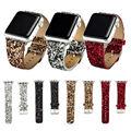 Natal brilhante poder glitter pu couro bling luxo iwatch banda pulseira de relógio de pulso strap belt para apple watch 38mm 42mm