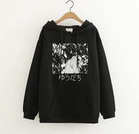 Fashion Japanese Harajuku Dark Line Cool Cartoon Girl Thicken Hooded Hoodie Winter Casual Loose Solid Color