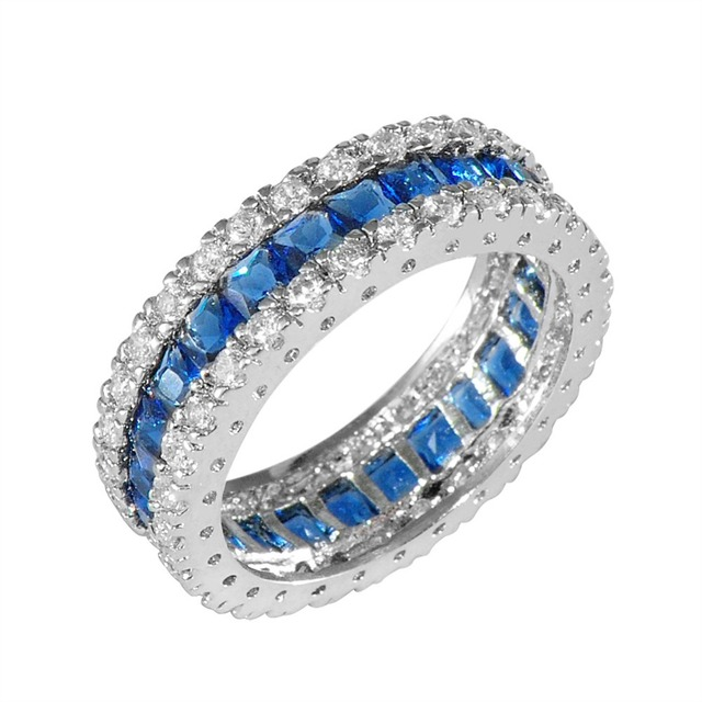 New Fashion Blue Round Female Ring Wedding Engagement Rings For Women Brand Design White Gold Filled Jewelry RW0411