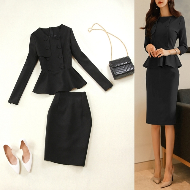 Black long sleeves mid length dresses Office lady suits