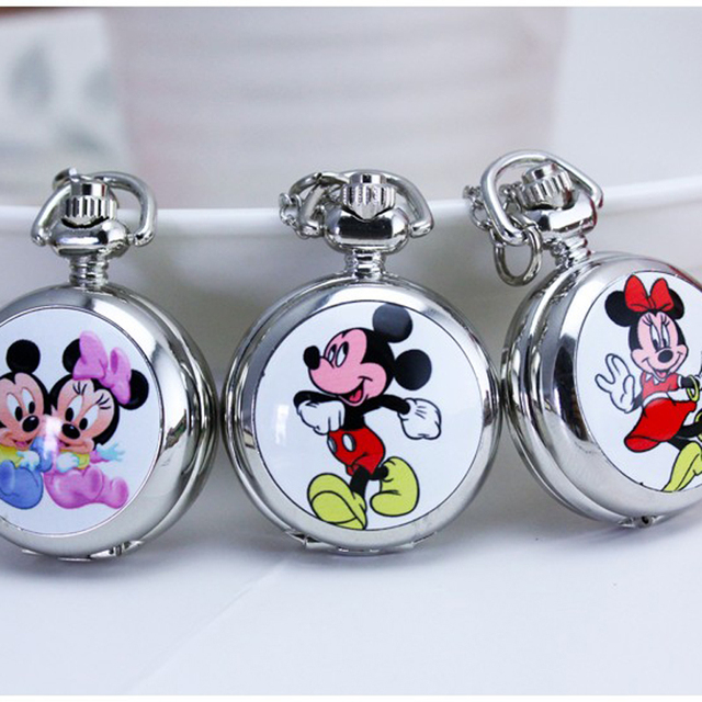 2018 new arrival fashion Pocket Watch necklace Mickey Pocket Watch wholesale Fre