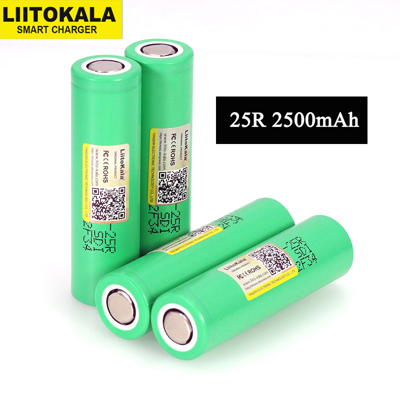 LiitoKala  18650 2500mAh Rechargeable Battery INR1865025R 3.6V discharge 20A dedicated For E cigarette batteries-in Replacement Batteries from Consumer Electronics