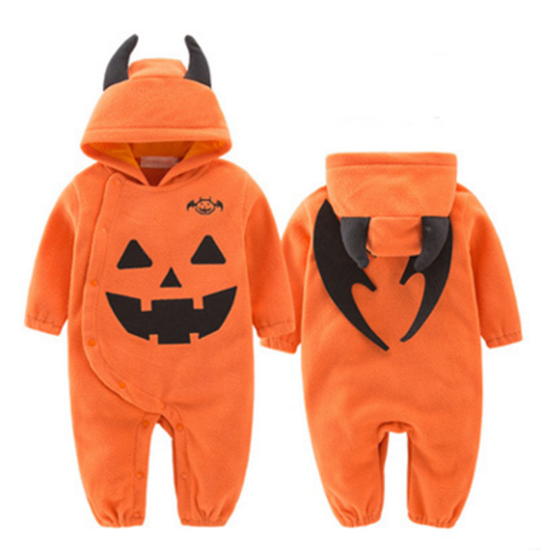 Hight Quality Cosplay Halloween Pumpkin Costume Baby Romper Infant Overalls Jumpsuit Toddler Cotton Costumes
