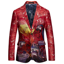 2018 Fashion Men New Suit Jacket Embroidery Floral Red Fancy Style Blazer Jacket Coat Men Slim Fit Prom Singer Blazer Male M-6XL
