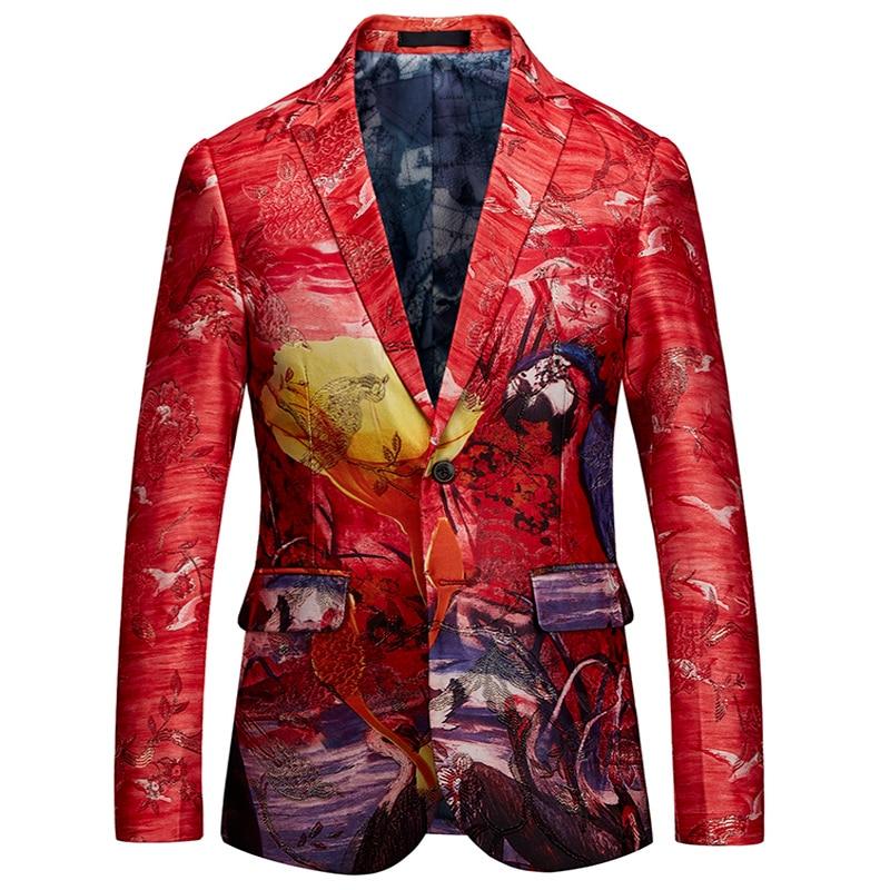 2018 Mode Männer Neue Anzug Jacke Stickerei Floral Rot Phantasie Stil Blazer Jacke Mantel Männer Slim Fit Prom Sänger Blazer Männlichen M-6xl Reinigen Der MundhöHle.