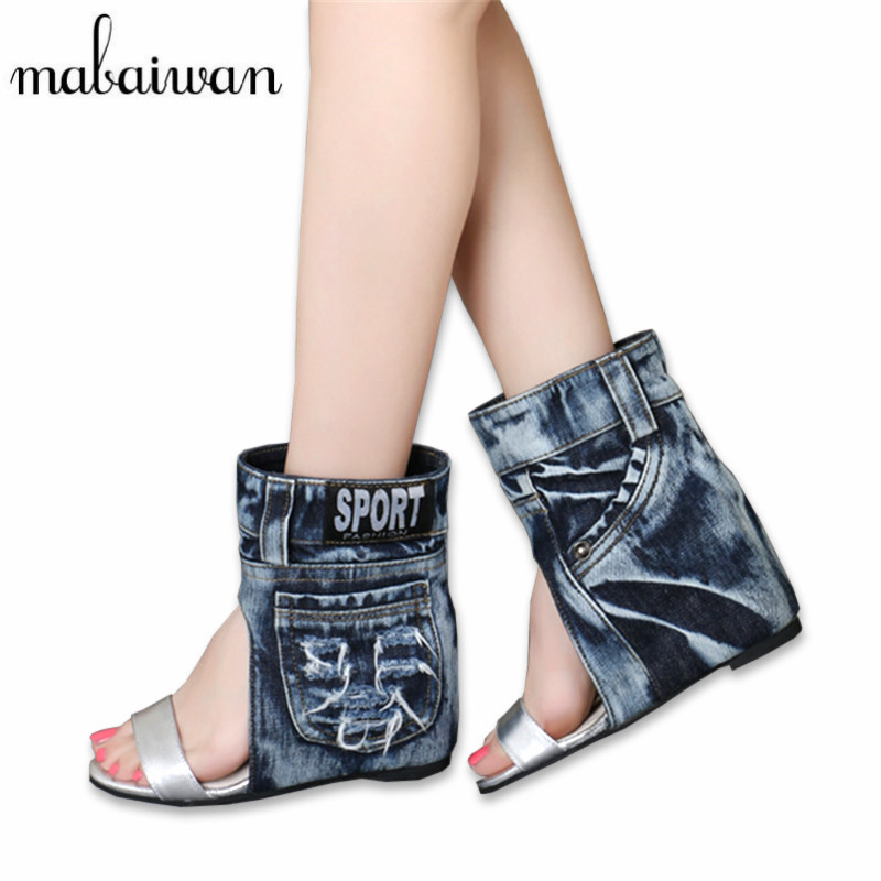Fashion Women Summer Boots Denim Sandals Peep Toe Ankle Botas High Heels Gladiator Wedge Shoes Woman Height Increasing Wedges women sandals 2017 summer style shoes woman wedges height increasing smile fashion gladiator platform female ladies shoes casual