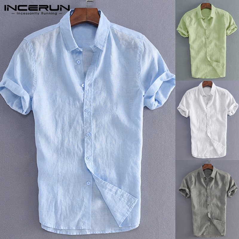 S-5XL INCERUN Elegante Masculino Tee Tops Camisas Casual Homens Camisas Sociais Vestido Botão Turn Down Collar Slim Fit Roupas Masculinas camisa
