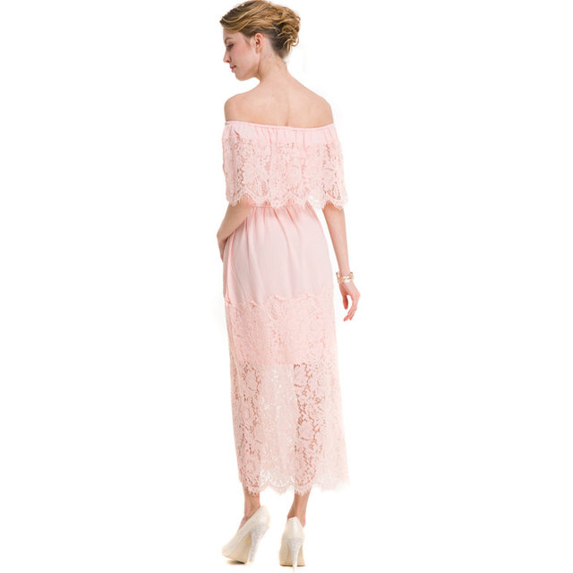 28b022ccafef4 LIVA GIRL Women'S Dresses Ladies Summer Dresses Casual For Beach Black Pink  Hollow Out Dress Chiffon A-Line Strapless Lace Dress