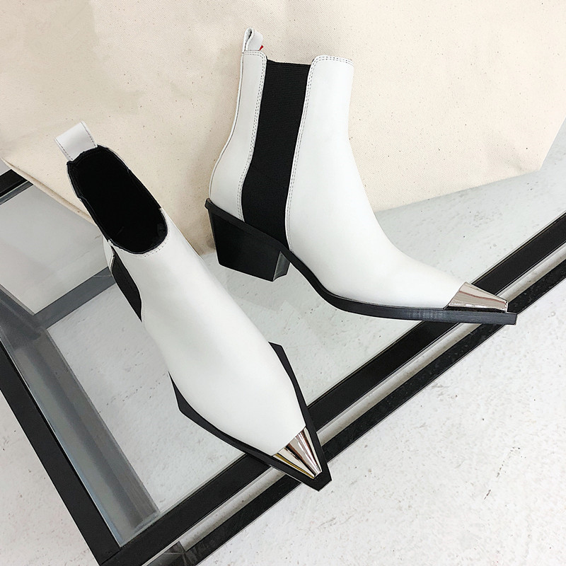 Rome Short Booties Real Leather Shoes Woman Metal Pointy Toe Dress Ankle Boots Solid Chunk Heels Women Boots Vintage Shoes 2018 купить в Москве 2019