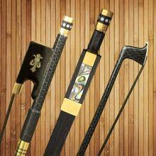 Kostenloser Versand 1 Stück Neue Baraided Starke Carbon 4/4 violine Geige Bogen AAA Mogolia Schwarz Pferdehaar Kupfer Teile zubehör