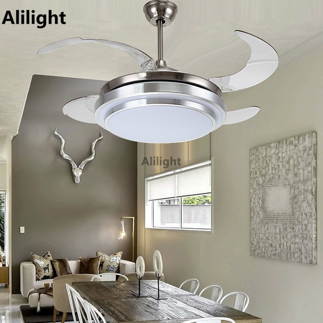 Led ceiling fans with light decorative retractable blade luxury led ceiling fans with light decorative retractable blade luxury folding fan lamp remote control 220v hanging aloadofball Choice Image