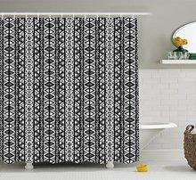 CHARM HOME Retro Shower Curtain Ethnic Boho Aztec Pattern